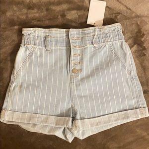 Stripe print denim shorts size S